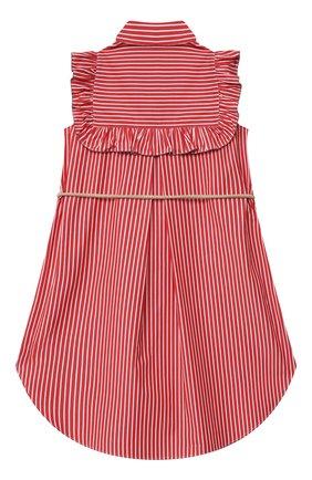 Детское хлопковое платье BRUNELLO CUCINELLI красного цвета, арт. BH701A003A   Фото 2 (Материал внешний: Хлопок; Рукава: Короткие; Случай: Повседневный; Девочки Кросс-КТ: Платье-одежда; Ростовка одежда: 4 года   104 см, 6 лет   116 см)