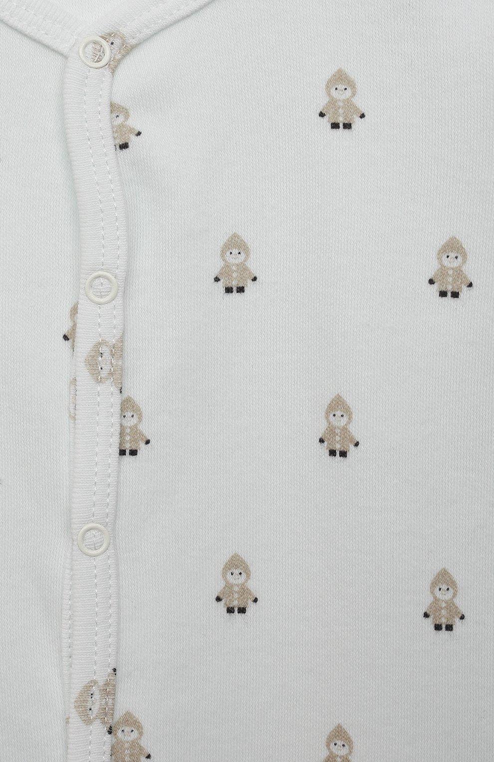 Детский хлопковый комбинезон LES LUTINS PARIS бежевого цвета, арт. 21E523/PYJAMA 21E22   Фото 3 (Рукава: Длинные; Материал внешний: Хлопок; Ростовка одежда: 9 мес   74 см, 3 мес   62 см, 6 мес   68 см)