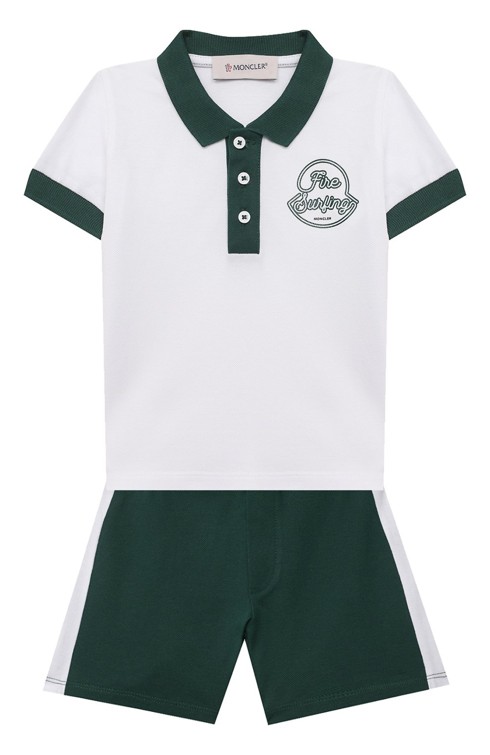 Детский комплект из поло и шорт MONCLER зеленого цвета, арт. G1-951-8M760-20-8496F   Фото 1