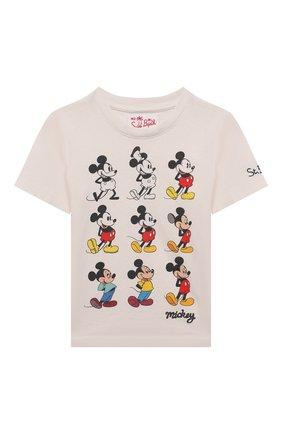 Детская хлопковая футболка MC2 SAINT BARTH бежевого цвета, арт. STBK TSHIRT B0Y/TSH0001/MIST11   Фото 1