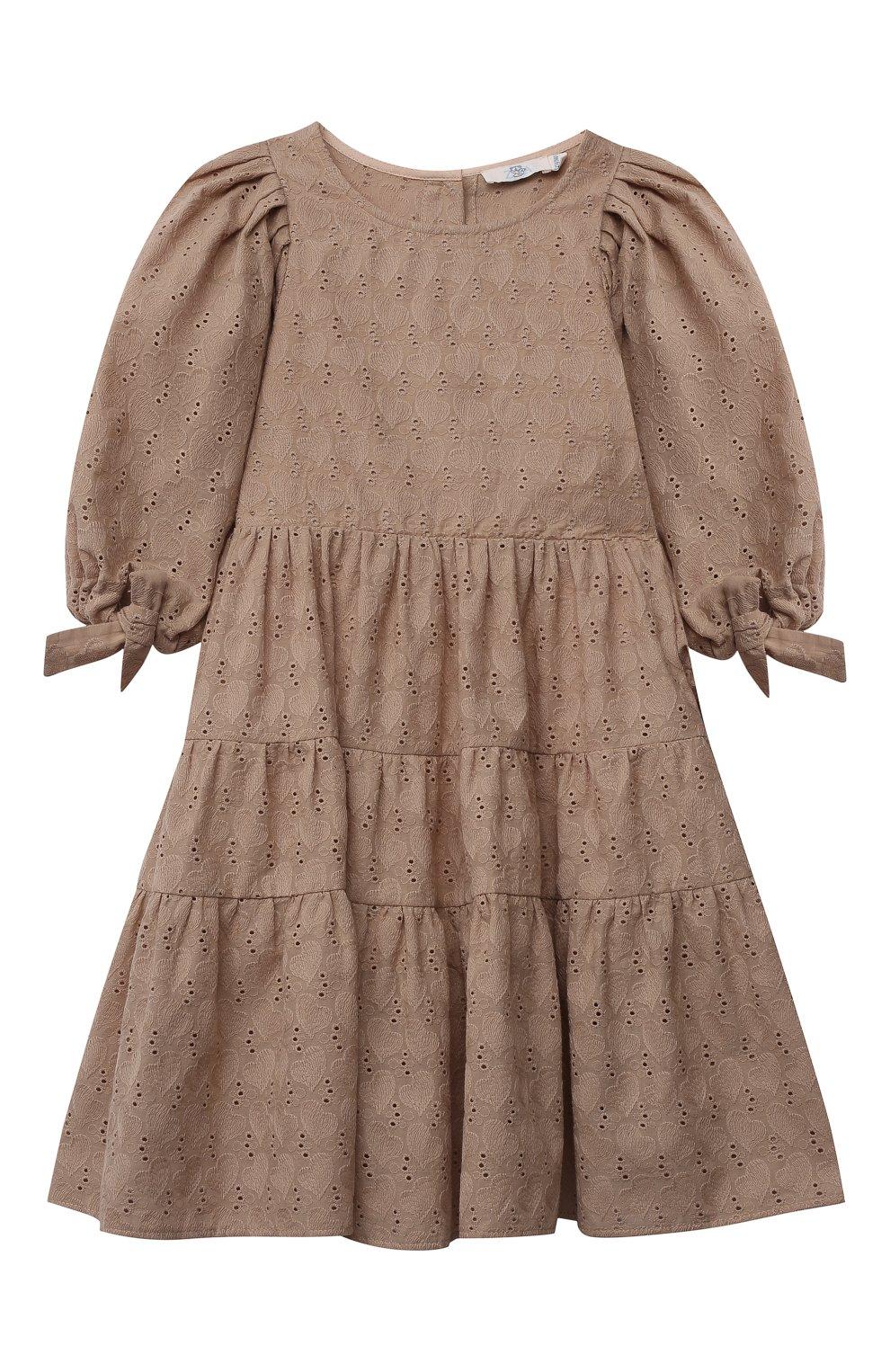Детское хлопковое платье ZHANNA & ANNA коричневого цвета, арт. ZAB02032021 | Фото 1 (Рукава: Длинные; Случай: Повседневный; Материал внешний: Хлопок; Девочки Кросс-КТ: Платье-одежда; Ростовка одежда: 5 лет | 110 см, 7 лет | 122 см, 9 лет | 134 см, 13 - 15 лет | 158 см, 12 лет | 152 см, 3 года | 98 см)
