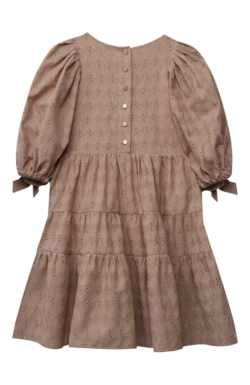 Детское хлопковое платье ZHANNA & ANNA коричневого цвета, арт. ZAB02032021 | Фото 2 (Рукава: Длинные; Случай: Повседневный; Материал внешний: Хлопок; Девочки Кросс-КТ: Платье-одежда; Ростовка одежда: 5 лет | 110 см, 7 лет | 122 см, 9 лет | 134 см, 13 - 15 лет | 158 см, 12 лет | 152 см, 3 года | 98 см)