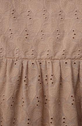 Детское хлопковое платье ZHANNA & ANNA коричневого цвета, арт. ZAB02032021 | Фото 3 (Рукава: Длинные; Случай: Повседневный; Материал внешний: Хлопок; Девочки Кросс-КТ: Платье-одежда; Ростовка одежда: 5 лет | 110 см, 7 лет | 122 см, 9 лет | 134 см, 13 - 15 лет | 158 см, 12 лет | 152 см, 3 года | 98 см)