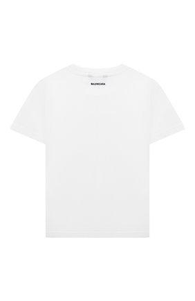 Детская хлопковая футболка BALENCIAGA белого цвета, арт. 556155/TKV53 | Фото 2