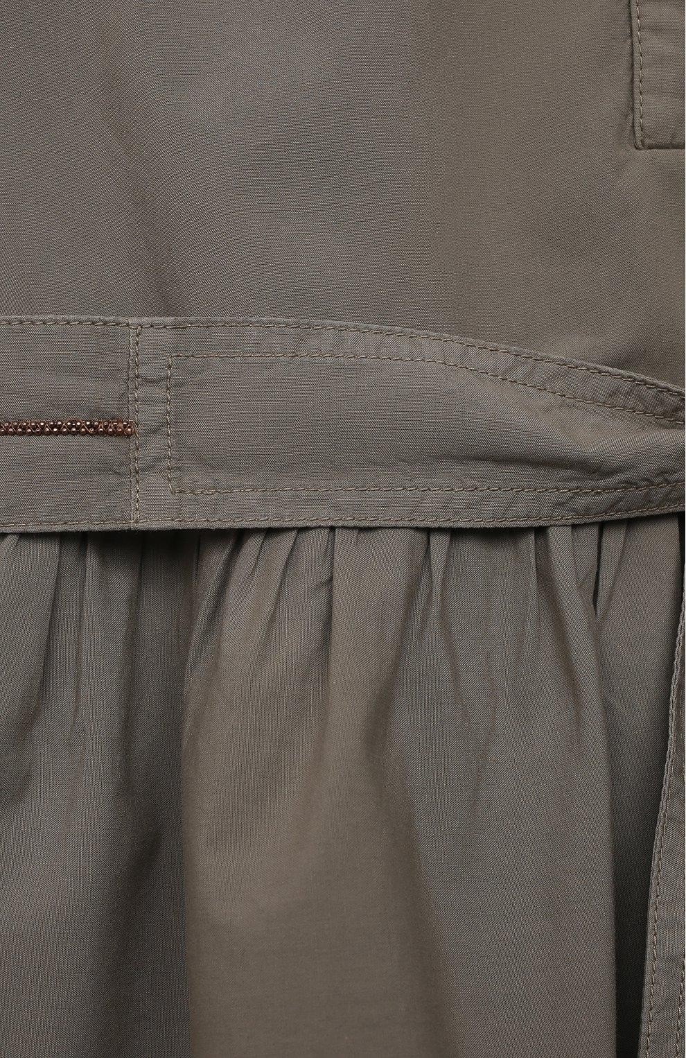 Детское хлопковое платье BRUNELLO CUCINELLI хаки цвета, арт. BH139A214A   Фото 3 (Рукава: Короткие; Случай: Повседневный; Материал внешний: Хлопок; Девочки Кросс-КТ: Платье-одежда; Материал подклада: Хлопок; Ростовка одежда: 6 лет   116 см, 4 года   104 см)