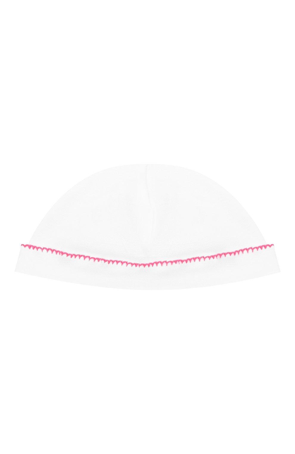 Детского хлопковая шапка LES LUTINS PARIS белого цвета, арт. 21E529/B0NNET FLU0 21E28   Фото 1