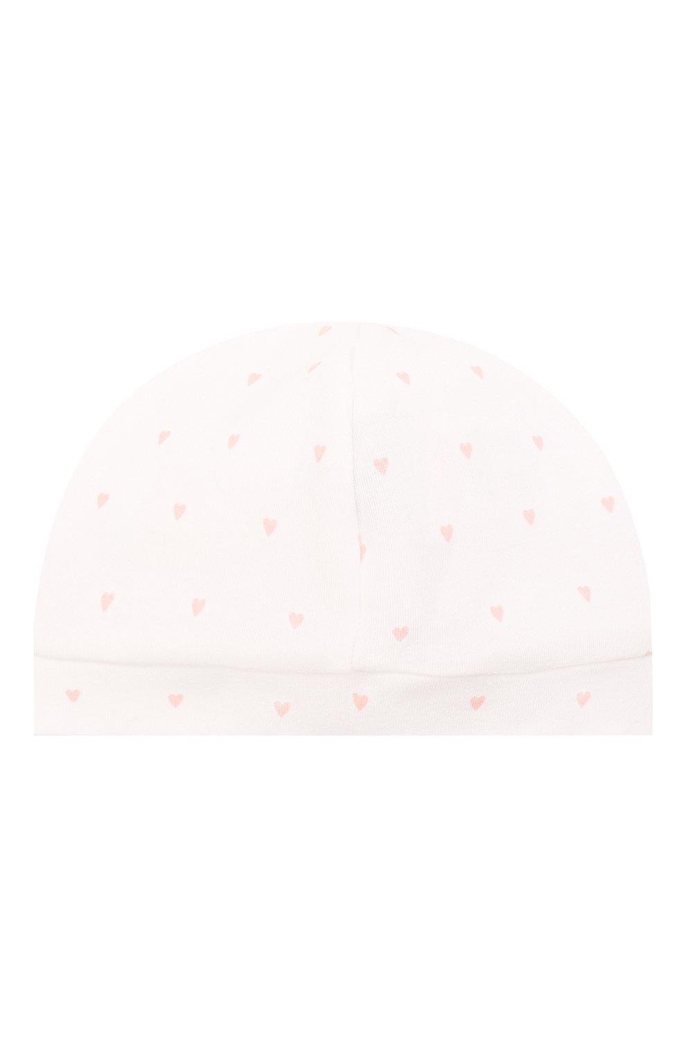 Детского хлопковая шапка LES LUTINS PARIS белого цвета, арт. 21E527/B0NNET C0EUR 21E26 | Фото 2 (Материал: Текстиль, Хлопок)