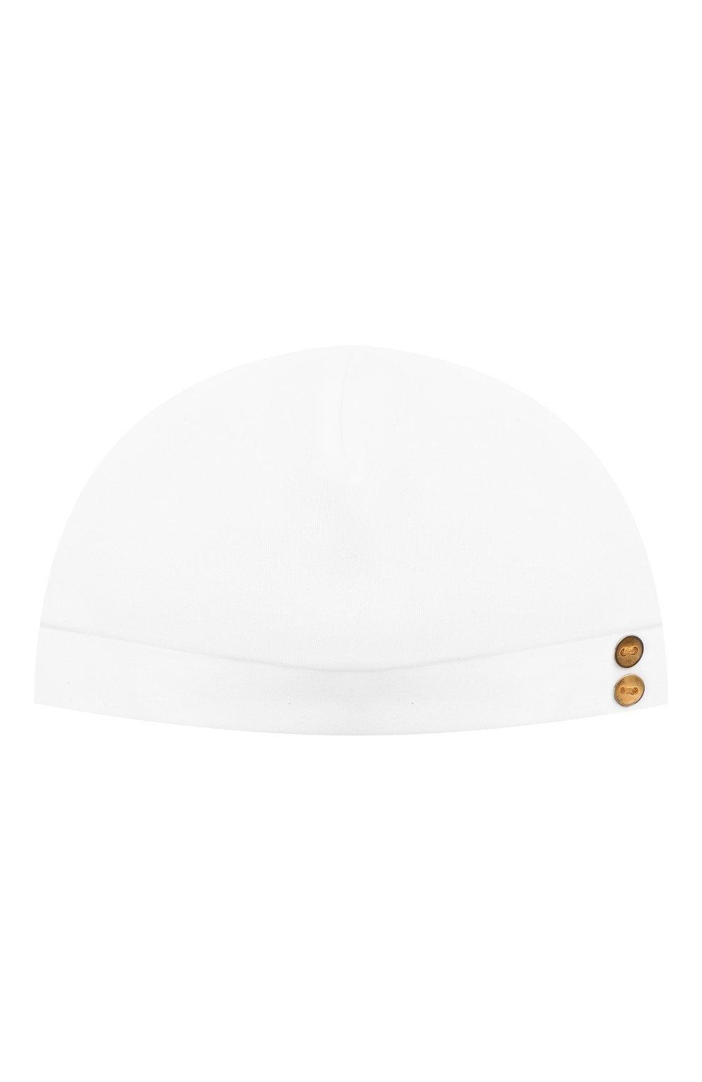 Детского хлопковая шапка LES LUTINS PARIS белого цвета, арт. 21E526/B0NNET UNI 21E25   Фото 1