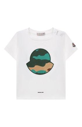 Детский хлопковая футболка MONCLER белого цвета, арт. G1-951-8C734-20-8790N | Фото 1