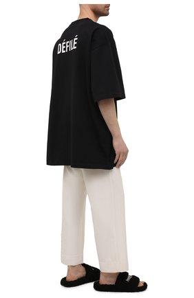 Мужские текстильные шлепанцы furry BALENCIAGA черного цвета, арт. 654747/W2D01 | Фото 2