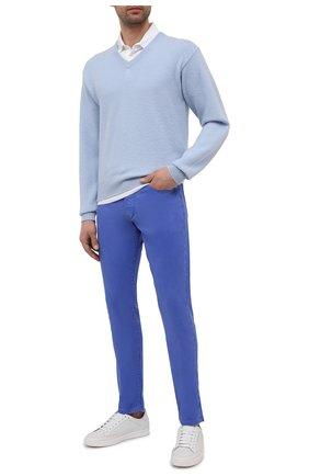 Мужские брюки изо льна и хлопка RALPH LAUREN синего цвета, арт. 790798751 | Фото 2