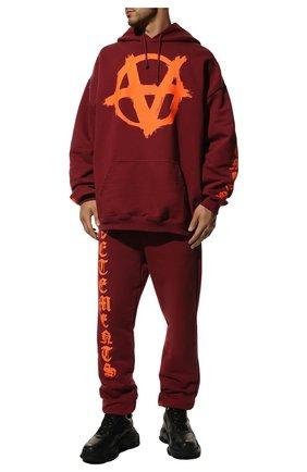 Мужской хлопковое худи VETEMENTS бордового цвета, арт. UA52TR820R 1601/M | Фото 2