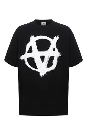 Мужская хлопковая футболка VETEMENTS черного цвета, арт. UA52TR490W 1602/M | Фото 1