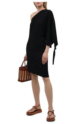 Женское платье loewe x paula's ibiza LOEWE черного цвета, арт. S616Y23X04 | Фото 2 (Женское Кросс-КТ: Платье-одежда; Случай: Повседневный; Длина Ж (юбки, платья, шорты): Мини; Рукава: 3/4; Стили: Бохо; Материал внешний: Хлопок, Синтетический материал)