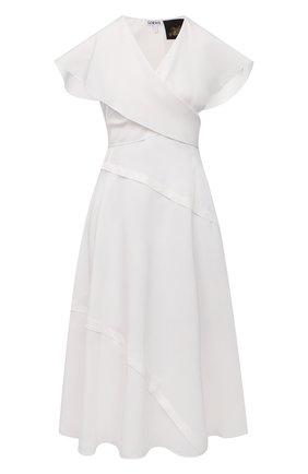 Женское платье из вискозы loewe x paula's ibiza LOEWE белого цвета, арт. S616Y09X30 | Фото 1 (Длина Ж (юбки, платья, шорты): Миди; Стили: Бохо; Женское Кросс-КТ: Платье-одежда; Случай: Повседневный; Материал внешний: Шелк, Вискоза; Рукава: Короткие; Материал подклада: Шелк)