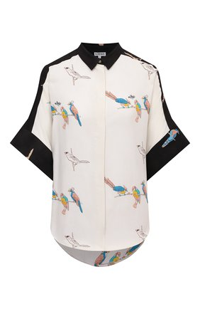 Женская рубашка из вискозы loewe x paula's ibiza LOEWE черно-белого цвета, арт. S616Y06X06 | Фото 1 (Длина (для топов): Удлиненные; Рукава: Короткие; Стили: Бохо; Женское Кросс-КТ: Рубашка-одежда; Материал внешний: Вискоза; Принт: С принтом)