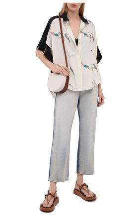 Женская рубашка из вискозы loewe x paula's ibiza LOEWE черно-белого цвета, арт. S616Y06X06 | Фото 2 (Длина (для топов): Удлиненные; Рукава: Короткие; Стили: Бохо; Женское Кросс-КТ: Рубашка-одежда; Материал внешний: Вискоза; Принт: С принтом)