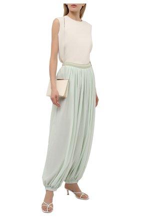 Женские хлопковые брюки loewe x paula's ibiza LOEWE светло-зеленого цвета, арт. S616Y04X04 | Фото 2 (Силуэт Ж (брюки и джинсы): Широкие; Стили: Бохо; Длина (брюки, джинсы): Стандартные; Женское Кросс-КТ: Брюки-одежда; Материал внешний: Хлопок)
