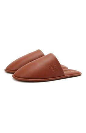 Женские кожаные сабо LOEWE коричневого цвета, арт. L814291X06 | Фото 1 (Подошва: Плоская; Материал внутренний: Натуральная кожа)