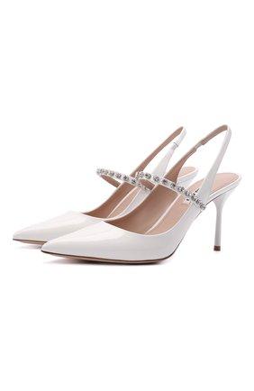 Женские кожаные туфли MIU MIU белого цвета, арт. 5I006C/JHR   Фото 1