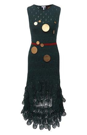 Женское хлопковое платье loewe x paula's ibiza LOEWE темно-зеленого цвета, арт. S616Y15K04 | Фото 1 (Женское Кросс-КТ: Платье-одежда; Материал внешний: Хлопок; Стили: Бохо; Случай: Повседневный; Материал подклада: Синтетический материал; Длина Ж (юбки, платья, шорты): Миди; Кросс-КТ: Трикотаж)