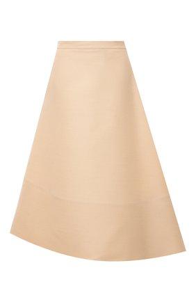 Женская шерстяная юбка JIL SANDER бежевого цвета, арт. JSPS351004-WS212100 | Фото 1 (Материал внешний: Шерсть; Длина Ж (юбки, платья, шорты): Миди; Стили: Минимализм; Женское Кросс-КТ: Юбка-одежда; Материал подклада: Хлопок)