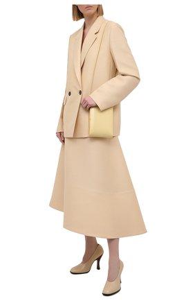 Женская шерстяная юбка JIL SANDER бежевого цвета, арт. JSPS351004-WS212100 | Фото 2 (Материал внешний: Шерсть; Длина Ж (юбки, платья, шорты): Миди; Стили: Минимализм; Женское Кросс-КТ: Юбка-одежда; Материал подклада: Хлопок)