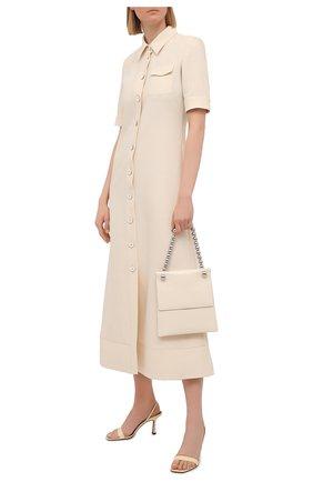 Женское платье из шерсти и вискозы JIL SANDER светло-бежевого цвета, арт. JSWS506106-WS212600 | Фото 2 (Материал подклада: Шелк; Женское Кросс-КТ: Платье-одежда, платье-рубашка; Длина Ж (юбки, платья, шорты): Миди; Материал внешний: Вискоза, Шерсть; Рукава: Короткие; Стили: Минимализм; Случай: Повседневный)