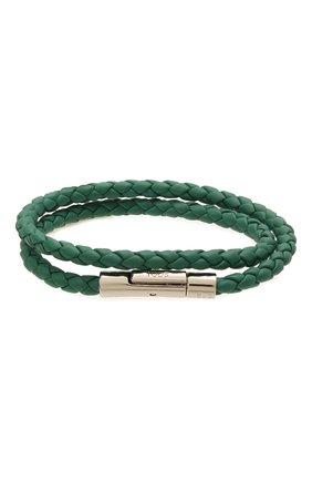 Мужской кожаный браслет TOD'S зеленого цвета, арт. XEMB1900200FLR | Фото 1 (Материал: Кожа)