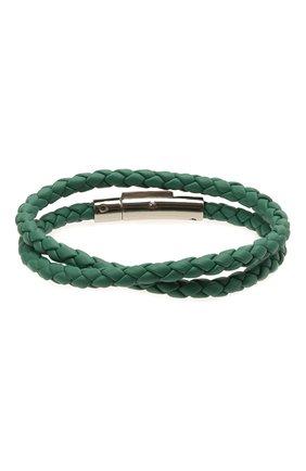 Мужской кожаный браслет TOD'S зеленого цвета, арт. XEMB1900200FLR | Фото 2 (Материал: Кожа)