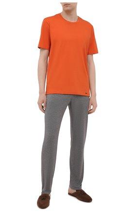 Мужская хлопковая футболка HANRO оранжевого цвета, арт. 075050 | Фото 2
