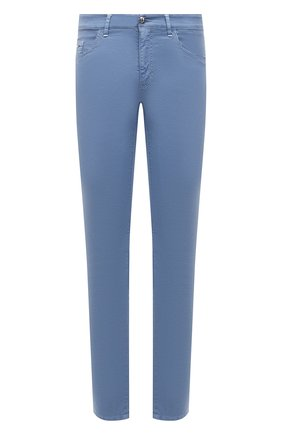 Мужские брюки из хлопка и шелка ZILLI голубого цвета, арт. M0V-D0120-C0L01/S001 | Фото 1 (Длина (брюки, джинсы): Стандартные; Материал внешний: Хлопок; Случай: Повседневный; Стили: Кэжуэл)