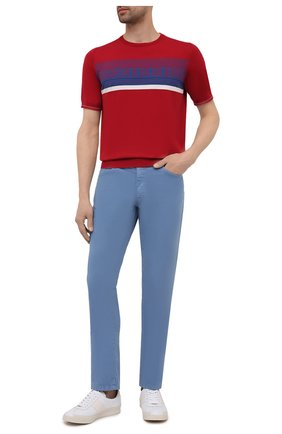 Мужские брюки из хлопка и шелка ZILLI голубого цвета, арт. M0V-D0120-C0L01/S001 | Фото 2 (Длина (брюки, джинсы): Стандартные; Материал внешний: Хлопок; Случай: Повседневный; Стили: Кэжуэл)