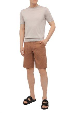Мужские хлопковые шорты CORNELIANI коричневого цвета, арт. 874EC1-1120134/00   Фото 2 (Принт: Без принта; Стили: Кэжуэл; Мужское Кросс-КТ: Шорты-одежда; Материал внешний: Хлопок; Длина Шорты М: До колена)