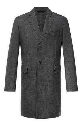 Мужской шерстяное пальто BRIONI темно-серого цвета, арт. S0QK0L/09A4A | Фото 1 (Мужское Кросс-КТ: пальто-верхняя одежда; Стили: Классический; Материал подклада: Хлопок; Рукава: Длинные; Длина (верхняя одежда): До середины бедра; Материал внешний: Шерсть)