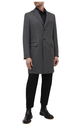 Мужской шерстяное пальто BRIONI темно-серого цвета, арт. S0QK0L/09A4A | Фото 2 (Мужское Кросс-КТ: пальто-верхняя одежда; Стили: Классический; Материал подклада: Хлопок; Рукава: Длинные; Длина (верхняя одежда): До середины бедра; Материал внешний: Шерсть)