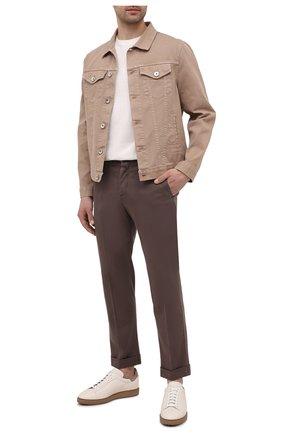 Мужские брюки KITON коричневого цвета, арт. UFPLACJ07T37   Фото 2