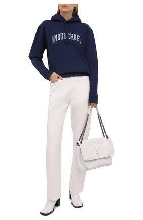 Женский хлопковое худи SAINT LAURENT синего цвета, арт. 652526/Y36C0 | Фото 2 (Рукава: Длинные; Длина (для топов): Стандартные; Материал внешний: Хлопок; Принт: С принтом; Стили: Спорт-шик; Женское Кросс-КТ: Худи-одежда)