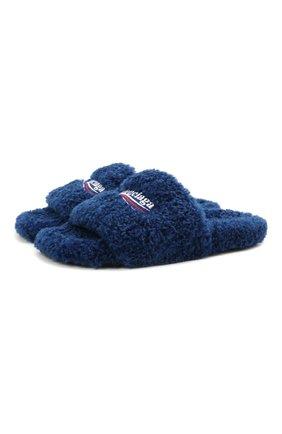 Мужские текстильные шлепанцы furry BALENCIAGA синего цвета, арт. 654747/W2D01 | Фото 1
