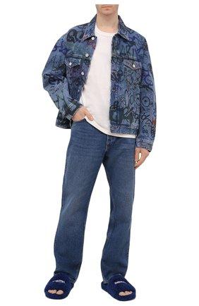 Мужские текстильные шлепанцы furry BALENCIAGA синего цвета, арт. 654747/W2D01 | Фото 2