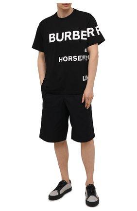 Мужские комбинированные кеды BURBERRY серого цвета, арт. 8040195 | Фото 2