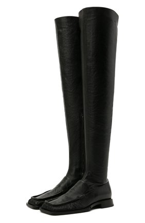 Женские кожаные ботфорты JIL SANDER черного цвета, арт. JS36109A-13200 | Фото 1 (Каблук тип: Устойчивый; Материал внутренний: Натуральная кожа; Высота голенища: Высокие; Подошва: Плоская; Каблук высота: Низкий)