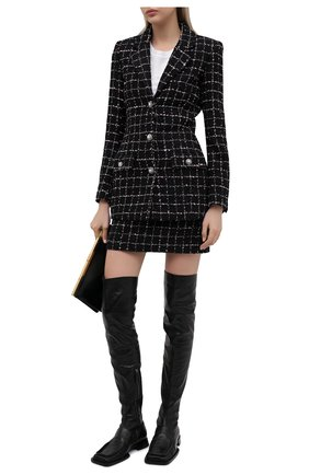 Женские кожаные ботфорты JIL SANDER черного цвета, арт. JS36109A-13200 | Фото 2 (Каблук тип: Устойчивый; Материал внутренний: Натуральная кожа; Высота голенища: Высокие; Подошва: Плоская; Каблук высота: Низкий)