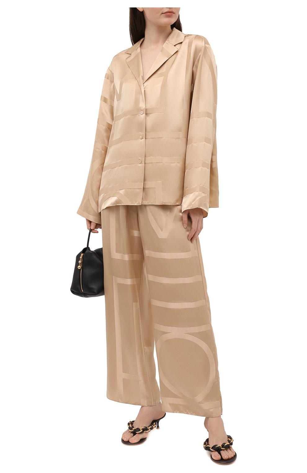 Женские шелковые брюки TOTÊME светло-коричневого цвета, арт. 212-255-724 | Фото 2