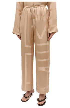 Женские шелковые брюки TOTÊME светло-коричневого цвета, арт. 212-255-724 | Фото 3