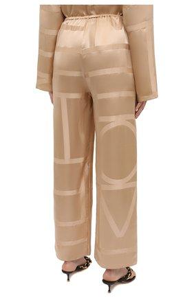Женские шелковые брюки TOTÊME светло-коричневого цвета, арт. 212-255-724 | Фото 4