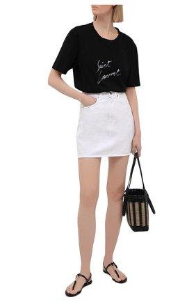 Женские кожаные сандалии cassandra SAINT LAURENT черного цвета, арт. 659817/2ZEJJ   Фото 2