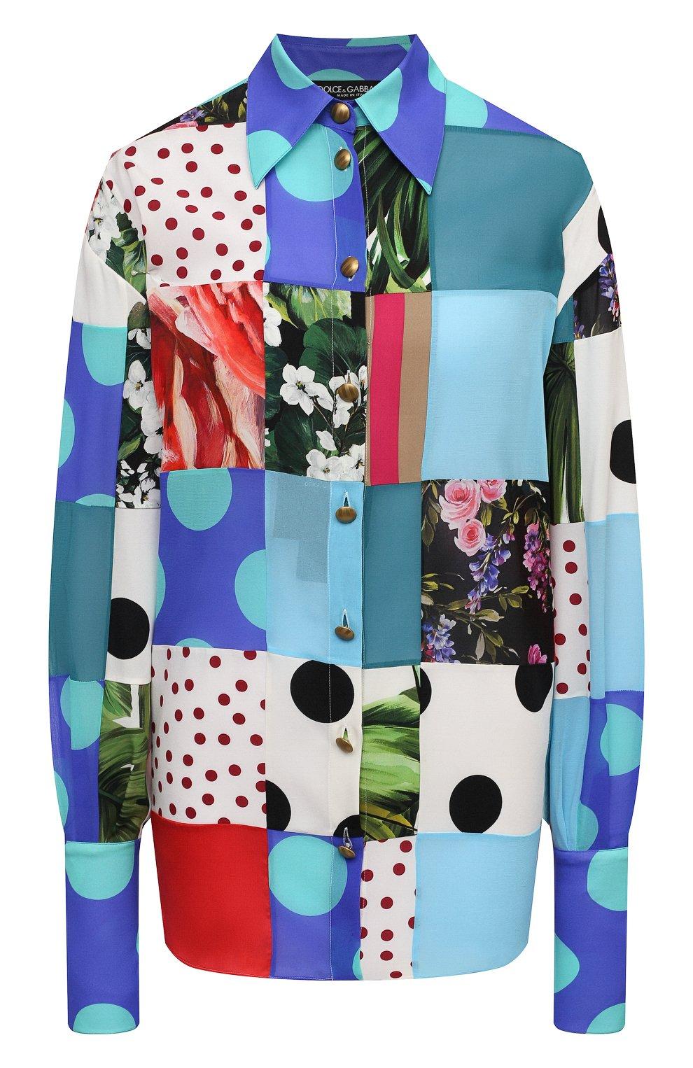 Женская шелковая рубашка DOLCE & GABBANA разноцветного цвета, арт. F5042T/GDY42 | Фото 1