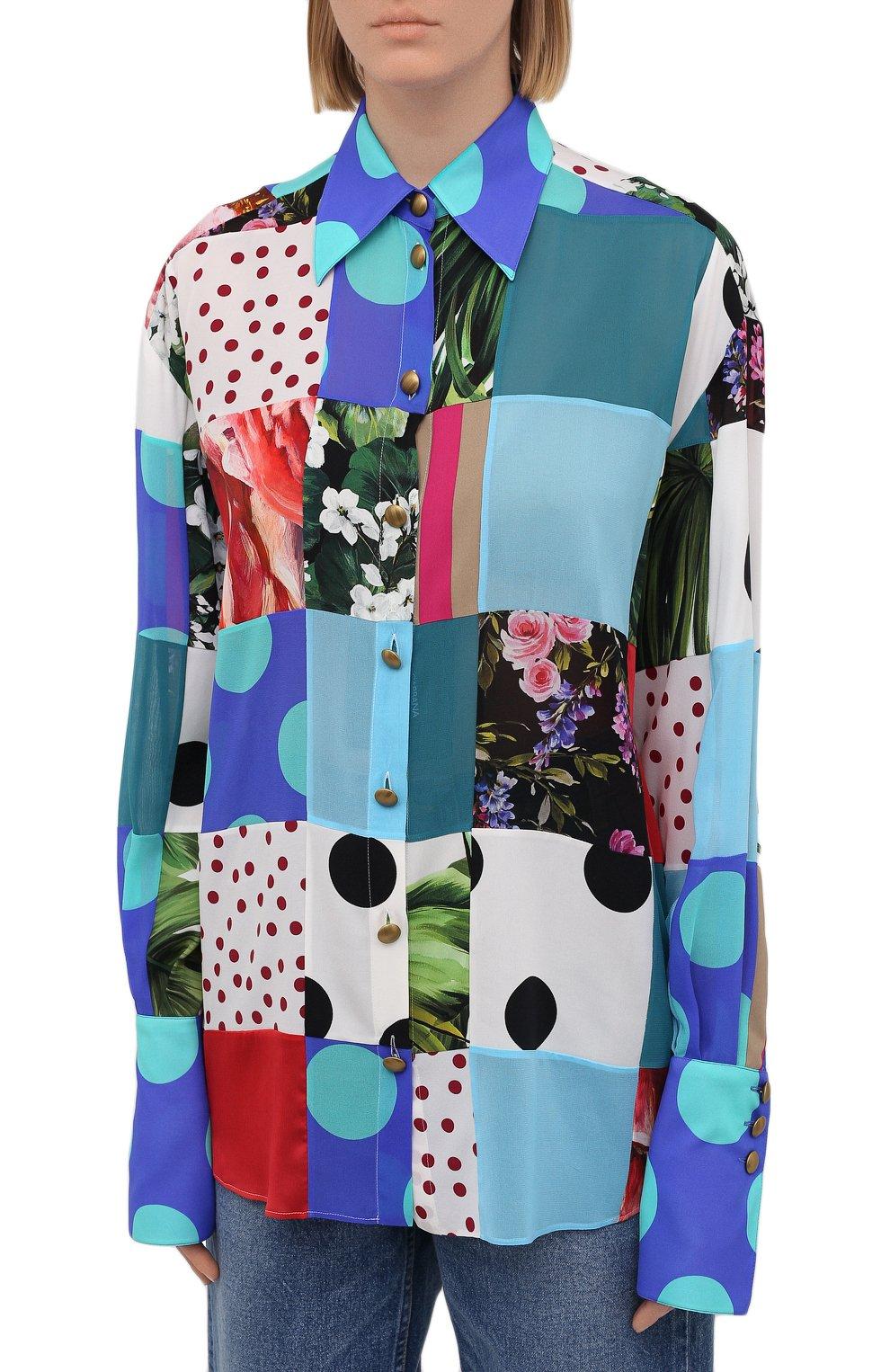 Женская шелковая рубашка DOLCE & GABBANA разноцветного цвета, арт. F5042T/GDY42 | Фото 3