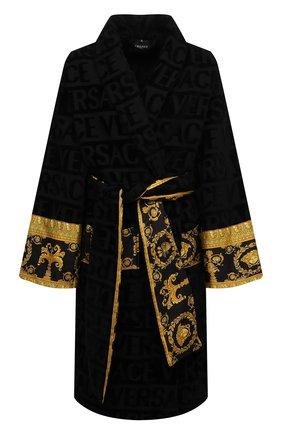 Женский хлопковый халат VERSACE черного цвета, арт. ZACJ00008/ZC0SP052 | Фото 1